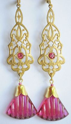 Vintage Raw Brass Earrings Art Nouveau  Pink Czech Glass Handmade   #Handmade #DropDangle
