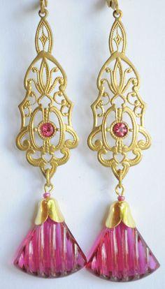 Vintage Raw Brass Earrings Art Nouveau  Pink Czech Glass Handmade   #Handmade #DropDangle