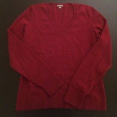 Ann Taylor 100% Cashmere Burgundy Sweater Ann Taylor Burgundy Sweater is 100% Cashmere (see last picture of inside tags w/ item number). Condition is gently used with not noticeable signs of wear or damage. Ann Taylor Sweaters V-Necks