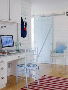 Cottage-Style Work Area >> http://www.hgtvremodels.com/interiors/beachy-cottage-makes-a-comeback/index.html?soc=pinterest