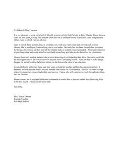 Sample recommendation letter for scholarship from professor