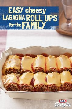 This flavorful dinner time recipe has everything your family enjoys about classic lasagna—just rolled-up! Have the kids do the honors by topping each roll-up with a slice of cheese. A fun take on a traditional lasagna recipe that will have the whole famil I Love Food, Good Food, Yummy Food, Beef Recipes, Cooking Recipes, Pasta Recipes, Dinner Recipes, Great Recipes, Favorite Recipes