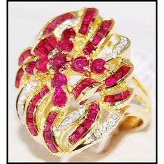 http://rubies.work/0463-sapphire-ring/ 18K Yellow Gold Eternity Ruby and Diamond Cocktail by BKGjewels
