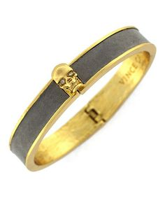 Love this Vince Camuto Gold & Gray Leather Skull Bracelet by Vince Camuto on #zulily! #zulilyfinds
