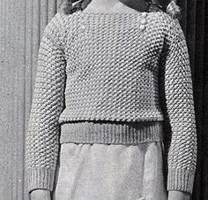 Child's Knitted Slip-On knit pattern originally published in Children's Clothes, Book 72. #knitting #sweaterpatterns