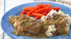 Betty Crocker's Heart Healthy Cookbook shares a recipe! Looking for a classic pork dinner? Then check out these browned chops served in smooth onion flavored gravy - a delightful skillet meal!