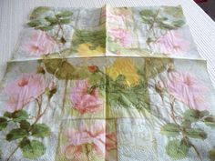 Flower Floral Paper Napkins Decoupage white  by ShimmeringCloud, $2.40