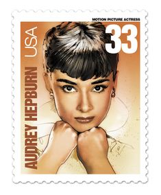 Audrey Hepburn: Illustration by Jeff Marshall. Legends of Hollywood series. 4 May 1929 – 20 January was a British actress and humanitarian. Audrey Hepburn Illustration, Audrey Hepburn Art, Vintage Stamps, Stamp Collecting, Classic Hollywood, Retro, My Idol, Famous People, Pop Art