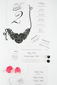 classic and modern black tie wedding invitations. love!