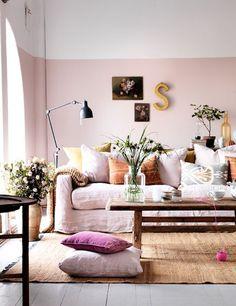 Half geschilderde muren | Woonguide.nl #diy #paint