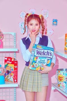 Kpop Girl Groups, Korean Girl Groups, Kpop Girls, Tteokbokki, Mixed Fruit, Contemporary Dance, Fruit Snacks, Milkshake, Teaser