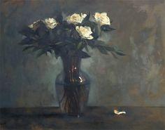 Keith Wicks painting, White Rose Still Life, 24x30