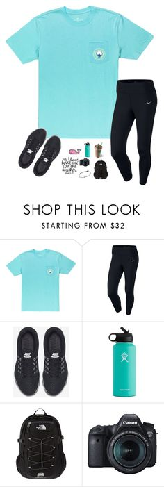 """""""qotd: do y'all have any plans this weekend or for the solar eclipse on monday?"""" by amararangwala ❤ liked on Polyvore featuring NIKE, Hydro Flask, The North Face and Eos"""