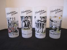 4 Mid Century Plantation Scene Southern Ice Tea Glasses Cocktail  Bar Frosted