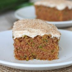 Zucchini Cake with Cinnamon Cream Cheese Frosting - moist zucchini cake covered in an irresistible cinnamon-spiked cream cheese frosting.
