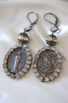Vintage assemblage earrings religious by frenchfeatherdesigns, $63.00
