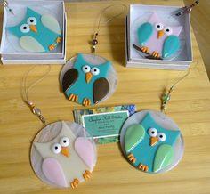Fused Glass Owl Ornament Suncatcher