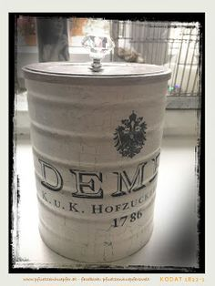 PfUeTzEnHuEpFeR`s Welt: wenn aus abfall eine neue vorratsdose für meinen kaffee wird ...   chalk paint, transferpotch und möbelknauf sei dank !