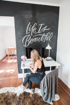 A chalk board wall is great for jotting down ideas or inspirational quotes | Skirt the Ceiling | skirttheceiling.com