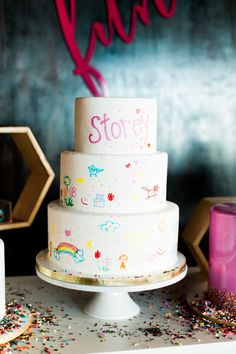 Hand painted cake: http://www.stylemepretty.com/living/2015/10/16/mocktail-4th-birthday-party/   Photography: Sara Hasstedt - http://www.sarahasstedt.com/