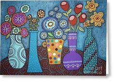 5 Flower Pots Greeting Card by Karla Gerard