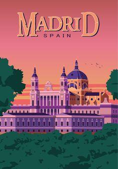 Madrid Vintage travel poster retro wall art print Spain decor ------- What will I get? Vintage Travel Posters, Vintage Postcards, Travel Sticker, Wall Art Prints, Poster Prints, Poster Retro, Spain Travel Guide, Art Deco Posters, Travel Illustration