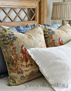 Savvy Southern Style: Creating French Country Style With Fabrics- the white pillow in front is IKEA