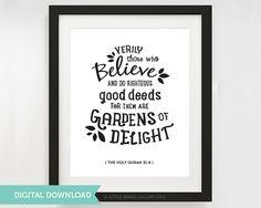 Digitale Download Quran citaat Tuinen van door LittleWingsGallery