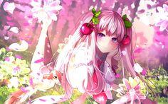 تحميل خلفيات vocaloid, ساكورا مايك, narami, الجنية الغابات, الزهور الوردية