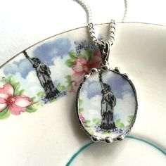 Historical American broken china jewelry pendant necklace antique and unusual Statue of Liberty rare china