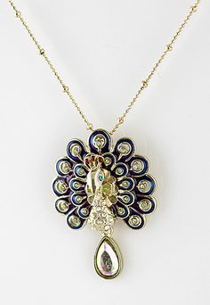Ahhhhhh! Must. Have!! :) Gold Crystal Peacock Necklace - Sheinside.com