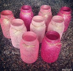 Pink ombre glittered mason jars set of 3 by FabDetailsEvents - Mason jar Mason Jar Projects, Mason Jar Crafts, Mason Jar Diy, Pink Mason Jars, Painted Mason Jars, Vasos Vintage, Diy Baby Shower Decorations, Glitter Decorations, Glitter Mason Jars