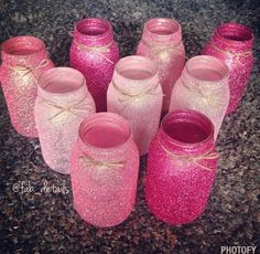 Pink ombre glittered mason jars set of 3 by FabDetailsEvents
