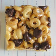Peanut Butter Cheerios are bound together with marshmallows, peanut butter and a sprinkle of chocolate chips to make a sweet, decadent treat!