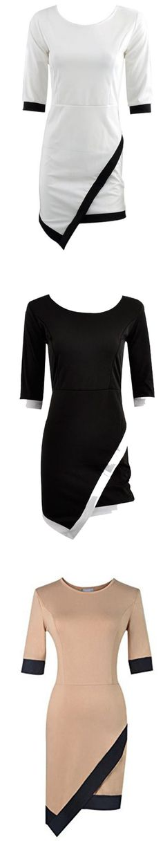Sexy Women Asymmetrical Bud Irregular Short Sleeve OL Party Dress SIZES XS TO L FREE SHIPPING only 17.99 usd