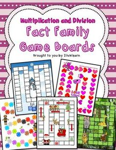 Multiplication and Division Fact Family Board Games (SET 4)Learn fact families fast and have fun too with these Multiplication and Division Fact Family Board Games. This set includes 5 Game Boards (Bumble Bee Buzz, Santas Late, Jungle Adventure, Love Letters, Let It Snow!), and 317 fact cards (with and without answers).