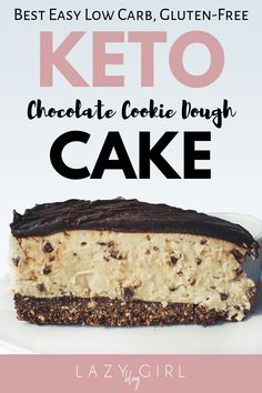 Just because a dessert doesn& gluten or sugar, doesn& mean it can& be good. This keto chocolate cookie dough cake is rich, decadent and fudgy. It& the perfect low carb gluten-free sweet treat to satisfy your cravings! Keto Brownies, Cream Cheese Brownies, Chocolate Cream Cheese, Coconut Chocolate, Coconut Brownies, Coconut Bars, Keto Friendly Desserts, Low Carb Desserts, Healthy Desserts