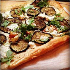 Za'atar Eggplant Pizza with Roasted Garlic & Arugula