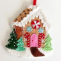 Felt Christmas Ornaments - gingerbread cottage. PDF Pattern Embroidered door ericahite by enid