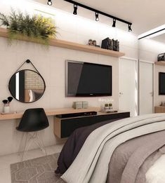 58 best minimalist bedroom design you must try 1 Tv In Bedroom, Woman Bedroom, Home Decor Bedroom, Modern Bedroom, Master Bedroom, Contemporary Bedroom, Bedroom Fun, Bedroom Wardrobe, Bedroom Curtains