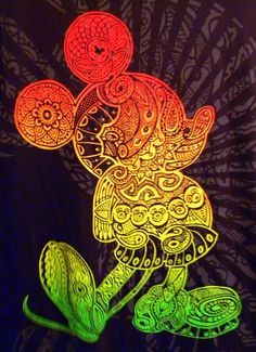 it's like Mickey and Zentangle all in one! I love the colors and the idea behind this. I would not do mickey though!
