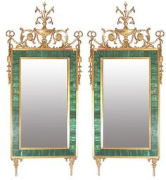A Magnificent Pair of 18th Century Russian Louis XVI Malachite and Gilt Wood Pier Mirrors