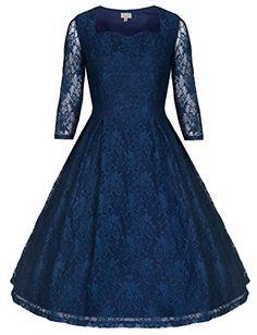 Lindy Bop 'Lisette' Exquisitely Elegant Lace 40's 50's Style Party Dress (5XL, Blue)