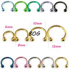 10 Pieces Anodized Circular Barbell Horseshoe Piercing CBB Septum Lip Labret  Eyebrow Nose Ring Nipple Piercing Body Jewelry 16g