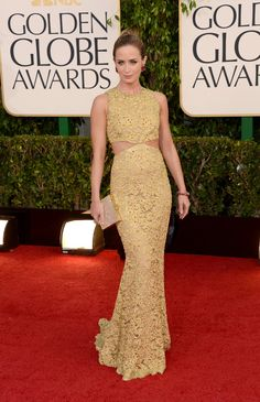 All the Ladies on the Golden Globes Red Carpet: Emily Blunt sparkled in Elie Saab.