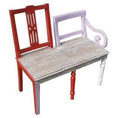 """Whimsical hand-painted bench with a natural wood seat and a back made from two distinctly different chairs.   Product: BenchConstruction Material: WoodColor: Red, purple, and whiteDimensions: 26"""" H x 26.5"""" W x 13.5"""" D"""