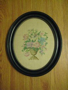 Vintage Framed Completed Cross Stitch Flowers in Vase On Linen