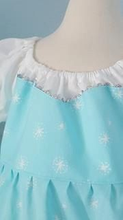 Sweet, simple and comfy!  100% cotton Elsa Inspired Peasant Princess Dress  Size 5/6  27 Inches Back of Neck to Hem  Easy-on dress myself elastic