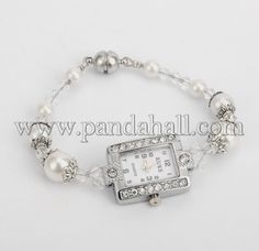 Wholesale Trendy Iron Rhinestone Watch Bracelets, with Glass Pearl Beads, Tibetan Style Bead Caps and Brass Magnetic Clasps, White, 175mm - Pandahall.com