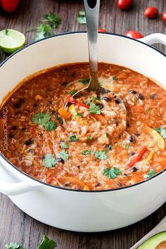 One Pot Pepper Jack Chicken Fajita and Rice Soup - Powered by @ultimaterecipe
